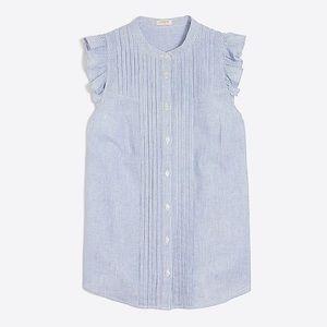 J Crew Petite sleeveless stripe ruffle tank top